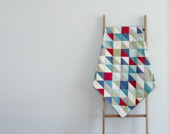 Custom Made-to-order Baby Boy or Girl Quilt, Baby Blanket, Crib Quilt, Stroller Blanket - Aztec Triangles
