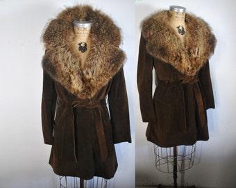 Raccoon Fur Collar Suede Leather Jacket / swing Coat / Small