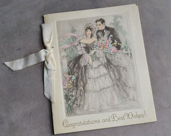 Vintage 1930's Wedding Congratulations Card with Ribbon Bride and Groom