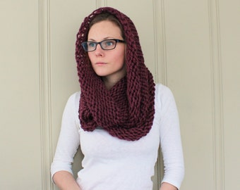Infinity Scarf No. 3 in Plum - Circle Scarf - Purple Scarf - Chunky Cowl Scarf - Hooded Scarf - Ready to Ship