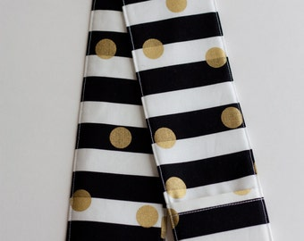 Camera Strap Cover - includes padding and lens cap pocket - Black and Gold