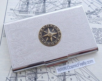 Nautical Compass Business Card Case Nautical Card Case Silver Card Case Metal Card Holder Neo Victorian Steampunk Travel Gifts For Travelers