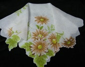 "Vintage 16.5"" Scalloped Chocolate Brown Daisy Floral Wedding Handkerchief or Doily, 9724"