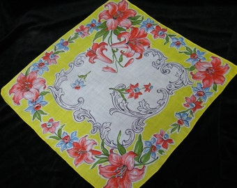"Vintage 1940's 12 1/2"" Yellow, Blue, Pink Jonquil Mixed Floral Wedding Handkerchief or Doily, 9756"