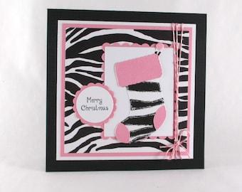 Christmas cards, Christmas stocking cards, Handmade Christmas cards, pink, zebra print, personalized cards, modern Christmas card