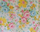 Vintage Bright Spring Floral Cotton Muslin Full Size Flat Sheet or Fabric