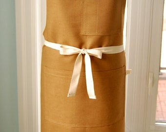 Milk Chocolate Cotton Linen Apron with multiple pockets