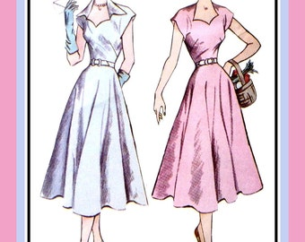 1950-SWEETHEART NECKLINE DRESS-Sewing Pattern-Two Lovely Style-Flirty Flared Skirt-Wing Collar-Cap Sleeves-Uncut-Size 12-16-Rare
