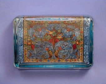"""William Morris """"Acanthus and Vine"""" Tapestry Large Rectangle Glass Paperweight Arts and Crafts Home Decor"""