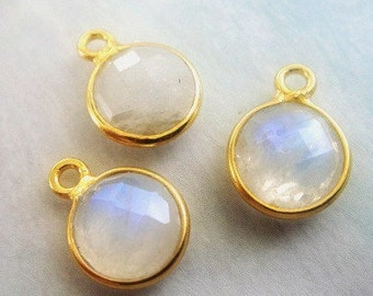 Rainbow Moonstone Bezel Pendant Charm, Gemstone Bezel Pendant,  24k Gold Vermeil,  925 Sterling Silver, 8mm Stone