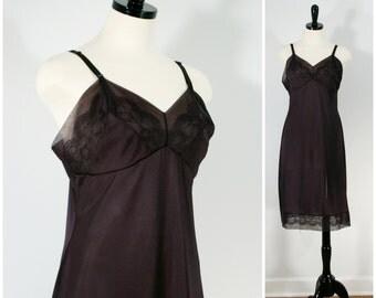 Black Lace Slip, Vintage Lingerie, Movie Star Nylon Full Slip, Chiffon and Lace Undergarment Size M