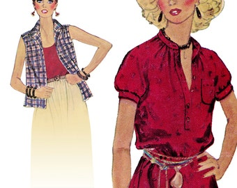 Boho Fabulous Sleeveless or Short Sleeve Blouse! Vintage ©1979 McCall's Sewing Pattern 6459, Misses' Set of Blouses, Size 10, Uncut with FF