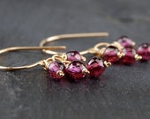 Garnet earrings, simple and dainty dangle earrings, handmade 14k gold filled wire wrapped earrings, January birthstone - Pixie