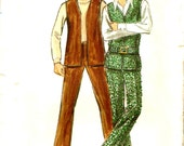 Mens Fitted Pants Flat Front Slacks, Vest Sewing Pattern Vintage 1970s Butterick 5965 Sewing Pattern Chest 36 Waist 30
