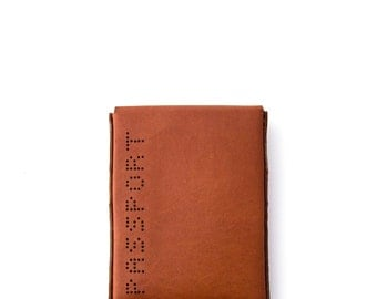 Leather Passport Wallet - Sleeve - Holder - Hand Dyed Chestnut - Hand Stitched - FREE SHIPPING