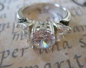 Vintage 925 sterling rock crystal ring, vintage rock crystal ring, vintage 925 silver ring, vintage rhine stone ring