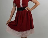 1950s Style Swing Dress with White Lace Trim against a Red Background 50's Red Dress Size Small to Medium