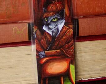 Sherlock Holmes Cat Bookmark, Grey Cat Detective Paper Bookmark