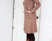 Gypsy Kangaroo Pocket Hooded Dresss - Hemp and Organic Cotton Knit - Made to Order - Choose Your Color