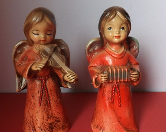 Vintage Mache Angels Playing Music Christmas Figurines
