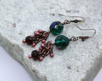 Red and Green Cluster Drop Earrings, Antique Copper, Wire Wrapped, Handmade, Sterling Silver Earwires