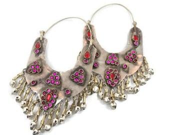 Gypsy Earrings, Big Hoops, Vintage Earrings, Silver Pink Red, Bell Dangles, Ethnic Tribal, Kuchi Afghan, Boho Statement, Large Huge, Hippie