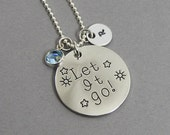 Let It Go - Frozen Necklace - Personalized Initial Name, Customized Swarovski crystal birthstone