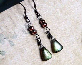 Labradorite Earrings, Copper Pyrite, Oxidized Sterling Silver--Verdant by CircesHouse on Etsy