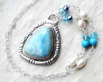 Larimar Necklace with Apatite, Pearls on Sterling Silver - Ocean Breeze by CircesHouse on Etsy