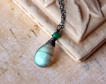 Labradorite Necklace with Green Aventurine on Oxidized Sterling Silver - Greenleaf by CircesHouse on Etsy