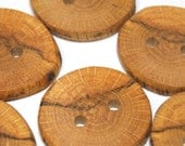 Handmade Buttons, Rustic Wood Buttons, Craft Buttons for Sewing, Knitting, Wooden Oak Tree Branch Buttons, 1.5 Inches, Set of 6