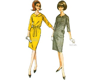 1960's Sack Dress Pattern McCall's 7456 Easy Sewing 60s Shift Dress with Raglan Sleeves, Vintage, Uncut