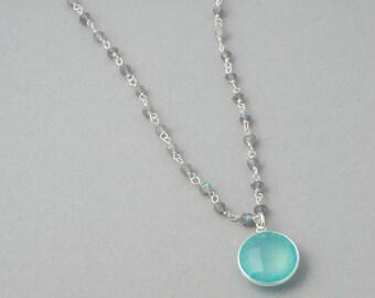 Labradorite Beaded necklace / Chalcedony pendant