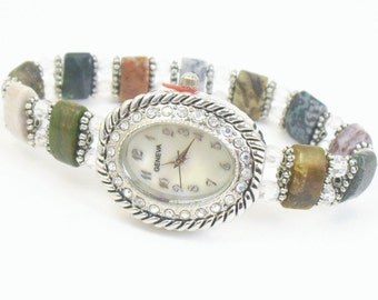 Ocean Jasper with Clear Crystal and Silver Accented Beaded Stretchy Bracelet Watch with Aurora Borealis Watch Face