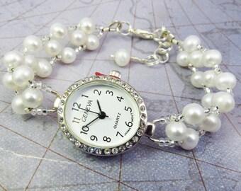 Beaded Bracelet Watch - Cream Freshwater Pearl Bracelet Watch in Silver