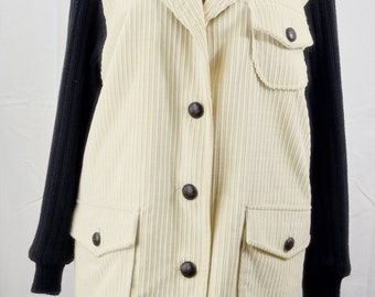 Chivalry Outerwear Women's Corduroy Coat | Gorgeous 1980's Egg Shell and Black Coat | Ship 4 Less | Free Organic Steam Cleaning