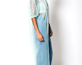 The Vintage Transparent Lace Teal Nightgown Cover Up