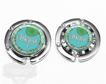 Purse Hanger - Personalized Blue and Green Plaid with Flower Bag Hook Accessory with Name, Monogram, Occupation (A063)