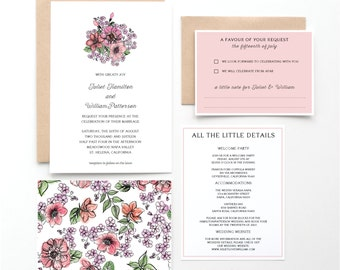 Wedding Invitation, Summer Floral Collection, Pink and Plum Floral