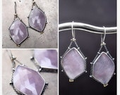 Large sapphire slice earrings…sterling silver with 14k gold accent