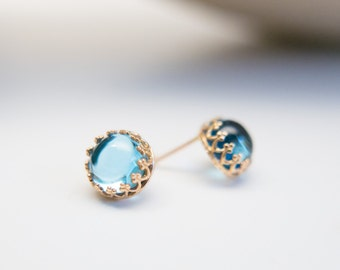 Blue Stone Earrings 14k solid gold earrings Swiss Blue topaz posts sky blue studs Gift for her special occasion wedding earrings for wife