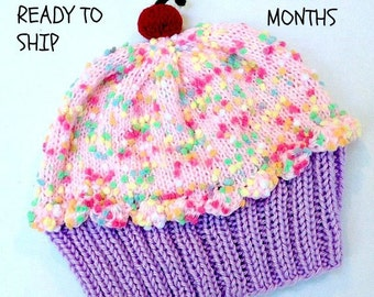 Cupcake Hat with Cherry on Top Lavender Purple Grape Frosting Cotton Candy Pink frosting and Sprinkles baby toddler READY TO SHIP 4-18 month