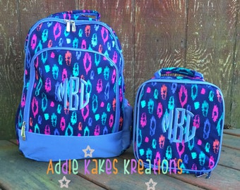 Personalized Blue Leopard Print Girls Backpack and Lunch Bag Combo Set / Laney Leopard / Pink Green Navy