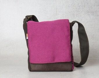 Pink bag, Fuchsia bag, pink crossbody bag, womens shoulder bag, small shoulder bags, canvas shoulder bag, everyday bag