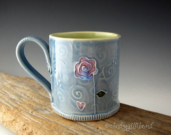 Pottery Mug with Purple Rose - Forever Inscribed - Rose Mug - Coffee Mug - by DirtKicker Pottery