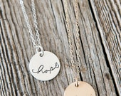 Hope Necklace, Infertility Necklace, Adoption Gift, Sympathy Gift, Handstamped Sterling Silver Necklace, Adoption Gifts, Miscarriage Gifts