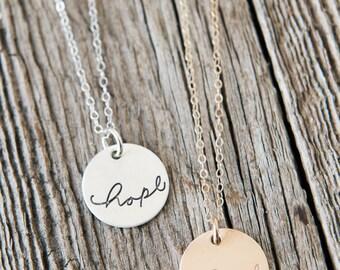 Hope Necklace, Infertility Necklace, Adoption Gift, Sympathy Gift, Handstamped Sterling Silver Necklace, Adoption Gifts, Miscarriage Gifts