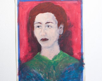 Vintage Lady Portrait / Outsider Art / 15 x 19 / Acrylic Painting on Found Paper