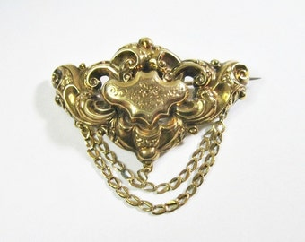 Antique Late Georgian to Early Victorian 14K Brooch - Pin - Repousse - As Is