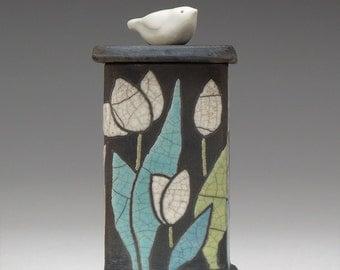 Ceramic box, Bird, flowers, tulips, ceramic Raku Fired Box, handmade treasure box,home decor